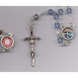 Saint St Rita Blue Relic Rosary with Holy Prayer Card, Velour Bag and