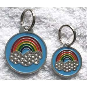 Rainbow Charm Crystal Bling Dog Cat Pet Collar ID Tag