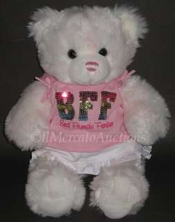 White Pink BFF Best Friends Forever Teddy Stuffed Animal Toy