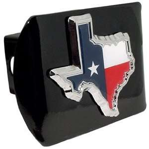 Texas Shape Premium Black Metal Hitch Cover with Texas