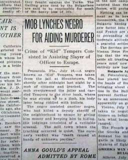 1913 Atlanta GA Newspaper BLOUNTSTOWN FL Florida NEGRO Lynching