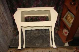 Vintage White Rectangle Magazine Telephone Stand Table