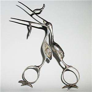 Antique Silver Stork Umbilical Cord Birthing Clamp / Ribbon Puller