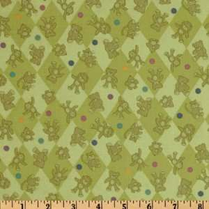 44 Wide Special Delivery Teddy Bear Toss Sage Fabric By