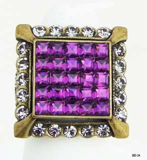 HEIDI DAUS AMETHYST CRYSTAL ILLUSION RING 7,10,12 NEW