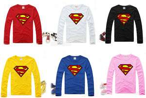 6CLRS MENS WOMENS SUPERMAN LONG SLEEVE T SHIRT TANK TOP