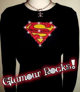 RHINESTONE BON JOVI SUPERMAN LS T SHIRT TEE M L XL 2XL