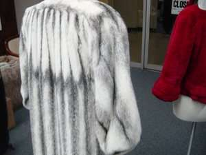 NATURAL Rare Color SILVER GREY Black CROSS MINK Full Length COAT