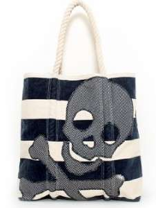 Loungefly Nautical Skull Canvas Tote Beach Bag Purse