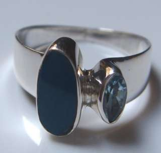 MAXICAN FIRE OPAL,BLUE TOPAZ 925 STERLING SILVER RING SIZE 6
