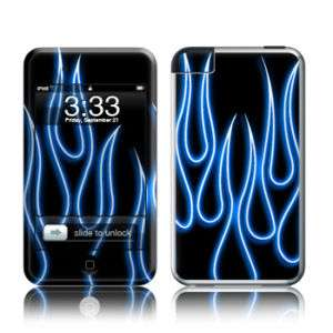 iPod Touch 1st Generation Skin Case Cover Blue Flames