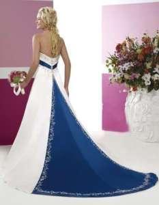 Store White/Blue Satin Wedding Dress Size*8 10 12 14 16