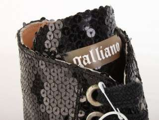 GALLIANO LADIES BLACK SEQUINS HIGH TOP FASHION SNEAKERS SHOES 38/8