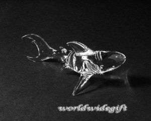 Blown Glass Art Animal Figurine Crystal Shark FISH sea