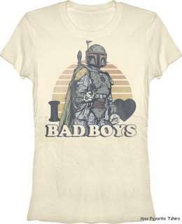 Licensed Star Wars Bobba Fett I Heart Bad Boys Women Juniors Shirt S