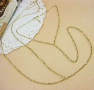 Womens Cross Body Harness Waist Chain Belly Vintage Gold Tone Necklace