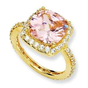 Gold Plated Sterling Silver Rose Cut Pink Cz Square Ring