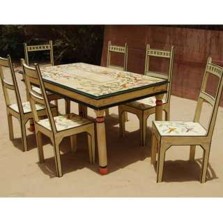Solid Wood Rustic Painted 7Pc FARM Dining Table Chair Set for 6 People