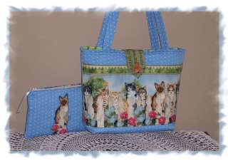 Kitty Cats Siamese Tabby & More tote bag purse handmade plus cosmetic