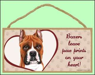 Boxer Cropped 10 x 5 Leave paw prints Dog Sign