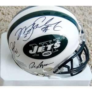 Jets Burress, Ryan, Sanchez, Holmes Autographed / Signed Mini Helmet