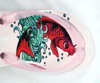 Ed Hardy Womens Kim Wedge KOI FISH Pink Flip Flops