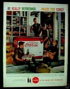 1959 Coca Cola Cooler Soda~Pop Boy Scouts Coke Machine Trade Ad