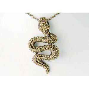 Topaz Crystal Rhinestone Snake Animal Reptile Costume Pendant Necklace