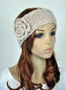Crochet Cute Flower & Leaf Winter Headband Head Wrap Cap Beige