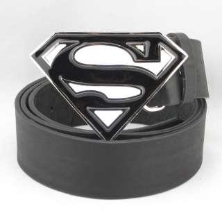 Black With White SUPERMAN SUPERHERO LOGO Men Metal Belt Buckle Leather