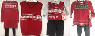 Valentines Brother & Sister Sets Girls Red Black Sweater Dress Pants