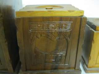 Carved Wood Wooden Kitchen Canister set Flour/Sugar/Coffee/Tea