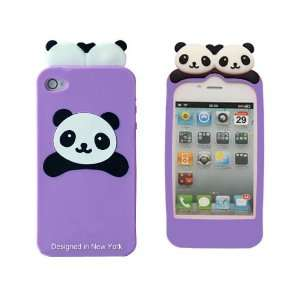 Purple Panda Bear Flexible Silicone Case for Apple iPhone