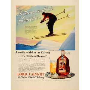 1939 Ad Lord Calvert Custom Blended Whiskey Skiing