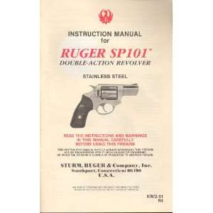 Ruger SP101 Double Action Revolver Instruction Manual Sturm Ruger