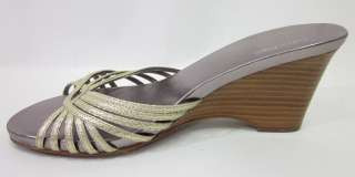 You are bidding on a CALVIN KLEIN Gold Metallic Strappy Slides Wedges