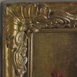 Antique Decorative Carved Gold Gilt Wood & Gesso Frame w/Floral Print