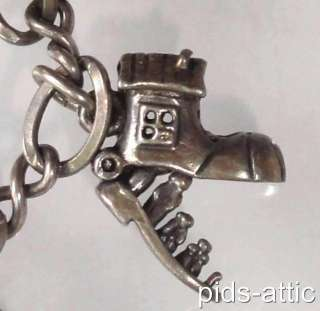 Vintage Sterling Silver Charm Bracelet with Unusual Old Mother Hubbard