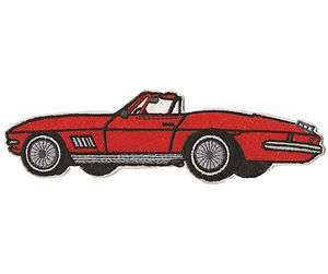 Corvette Stingray Model  on Large Red Old Corvette Stingray Convertible Car Embroidered Iron On