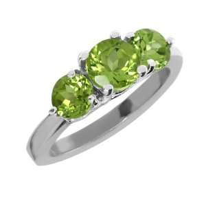 2.10 Ct 3 Stone Round Green Peridot .925 Sterling Silver Ring
