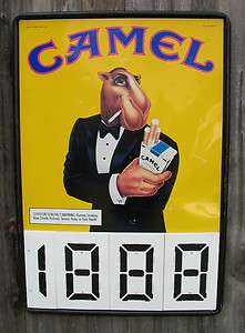 LARGE METAL CAMEL CIGARETTE SMOKE SIGN PLASTIC NUMBERS WORK GREAT
