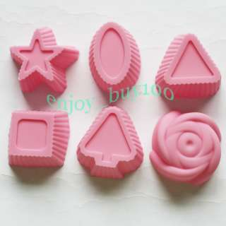 1pcs Silicone Cake Mold Chocolate Soap Candle Muffin Rose Shape Mould