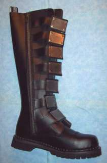 Black Leather Knee High Biker Boots Mens 4 / Womens 6 Reaper 30