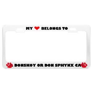 A Donskoy Or Don Sphynx Cat Pet White Metal License Plate