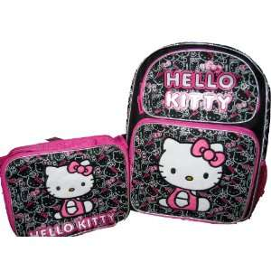 Kitty Large Black Backpack bag Tote and Insulated Lunchbox Lunch Set