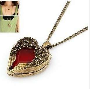 Steampunk Vintage Red Heart Necklace Court Carved Sweater chain Angel