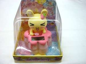 Solar Power Car Decoration Pink cake bunny Bobble head Nodding head