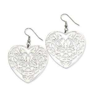 Chisel Stainless Steel Filigree Heart Wire Earrings Chisel Jewelry