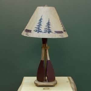 Wooden 2 Paddle Table Lamp