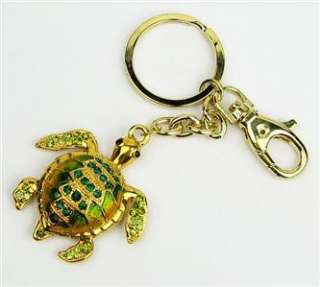 Cute Green Rhinestone Crystals Golden Turtle Key Chain